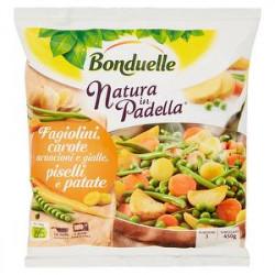 Natura in padella BONDUELLE fagiolini carote arancioni e gialle piselli e patate 450gr