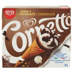 Cornetto ALGIDA panna e cioccolato 375gr conf. da 5 pezzi