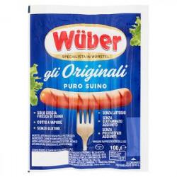 Wurstel gli originali WUBER di puro suino 100gr conf. da 4 pezzi