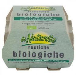 Uova rustiche Bio NATURELLE da galline allevate senza uso di antibiotici conf. da 4 uova