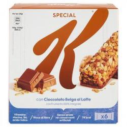 Barrette di cereali Special K KELLOGG'S con cioccolato belga al latte 120gr conf. da 6 pezzi